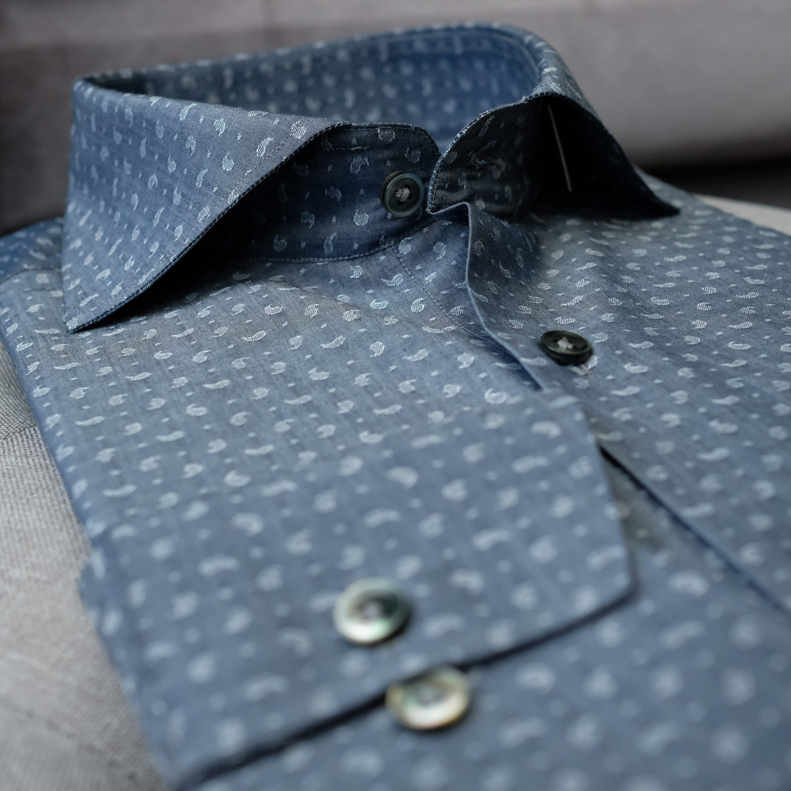 Blue Paisley Dress Shirt with Mother of Pearl Buttons