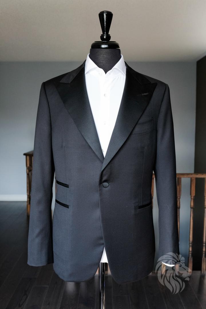 Black Peak Lapel Tuxedo bespoke custom tailoring