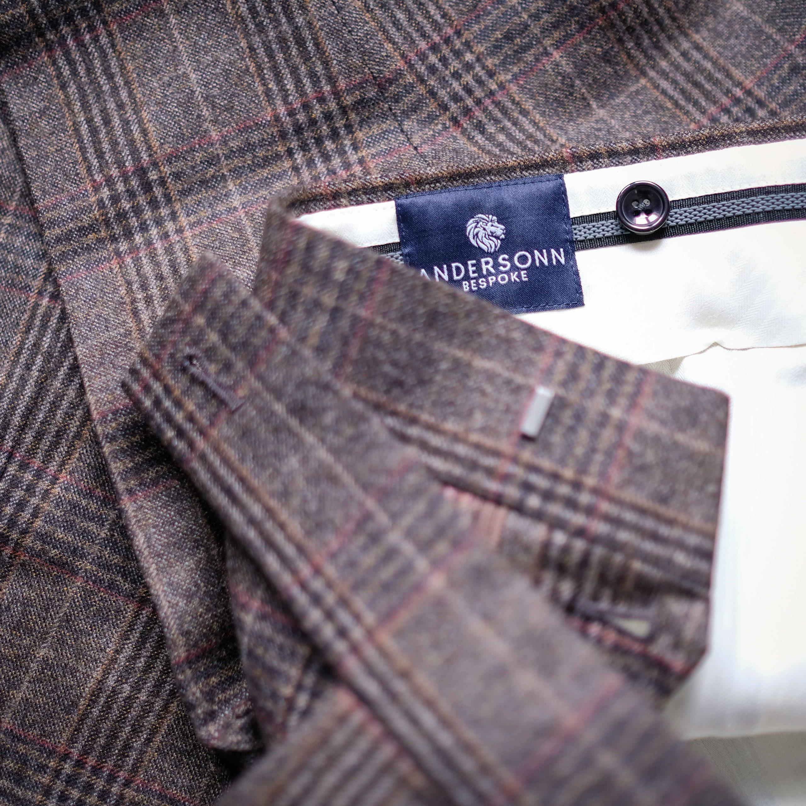 Brown Plaid Bespoke Custom Made Pants Trousers