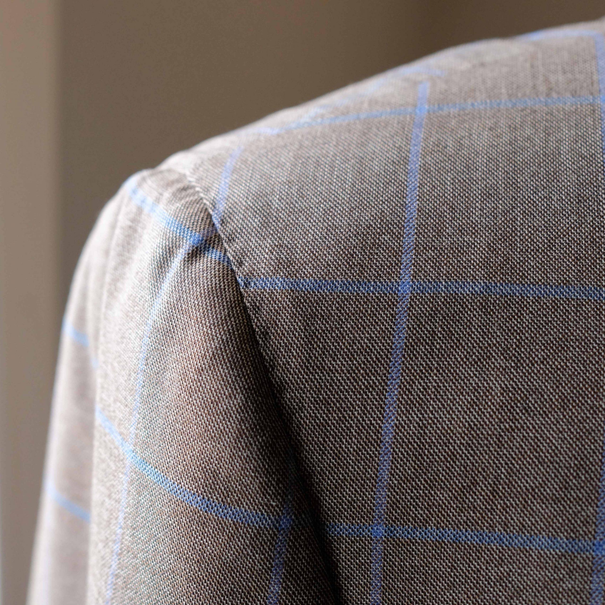 Shirt Shoulder Brown with blue Windowpane Jacket
