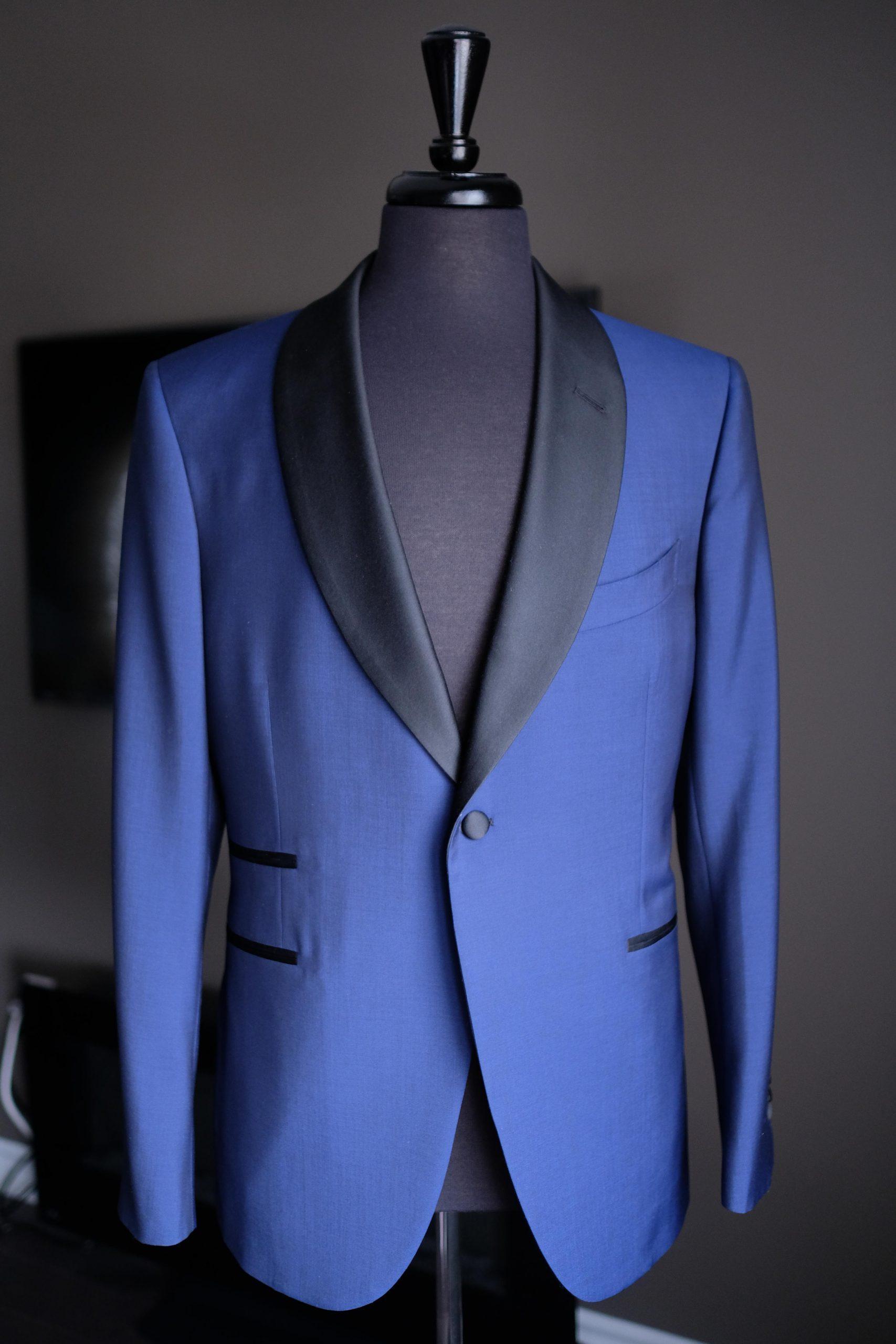 Blue Bespoke Shawl Collar Tuxedo