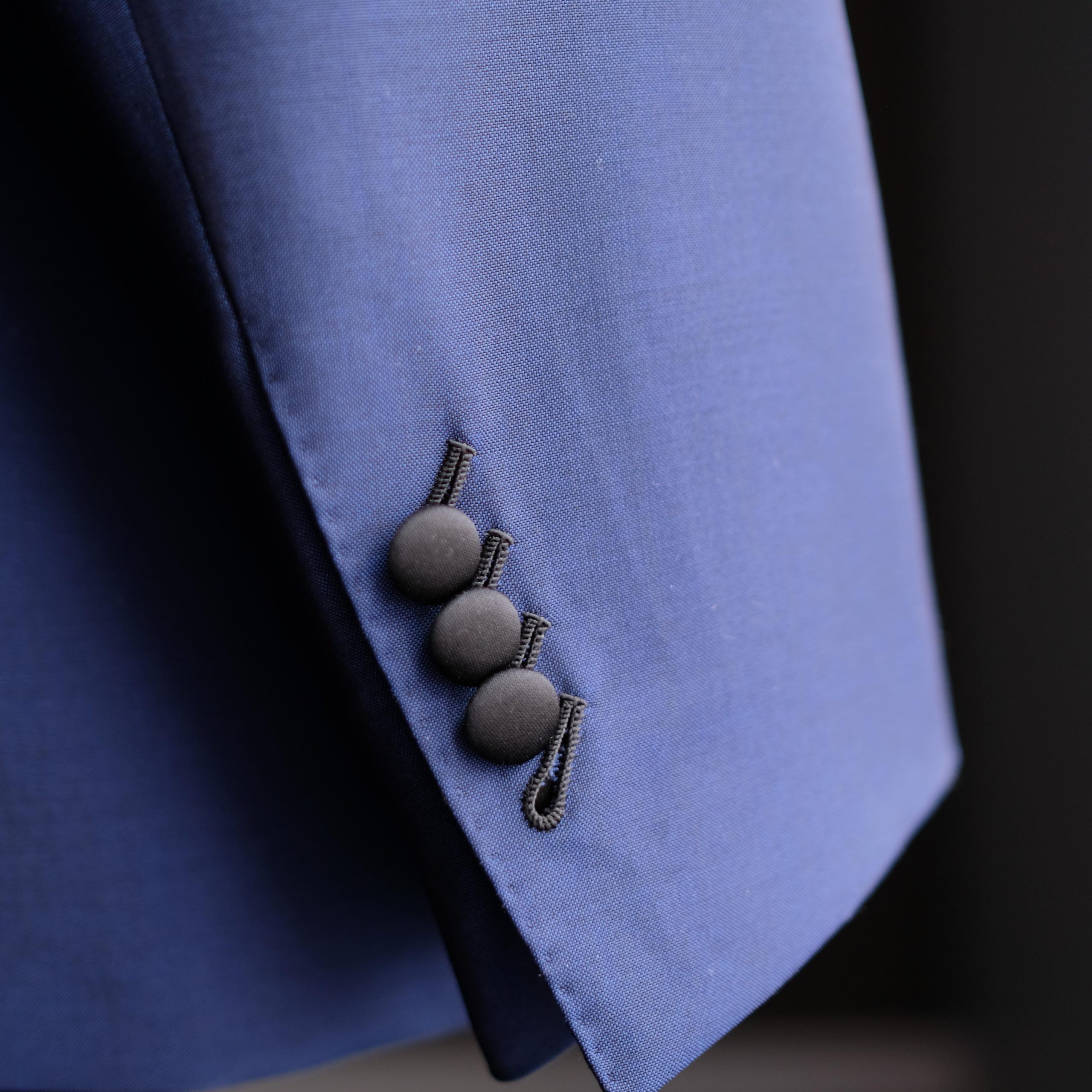 Blue Tuxedo with Satin Wrapped Buttons