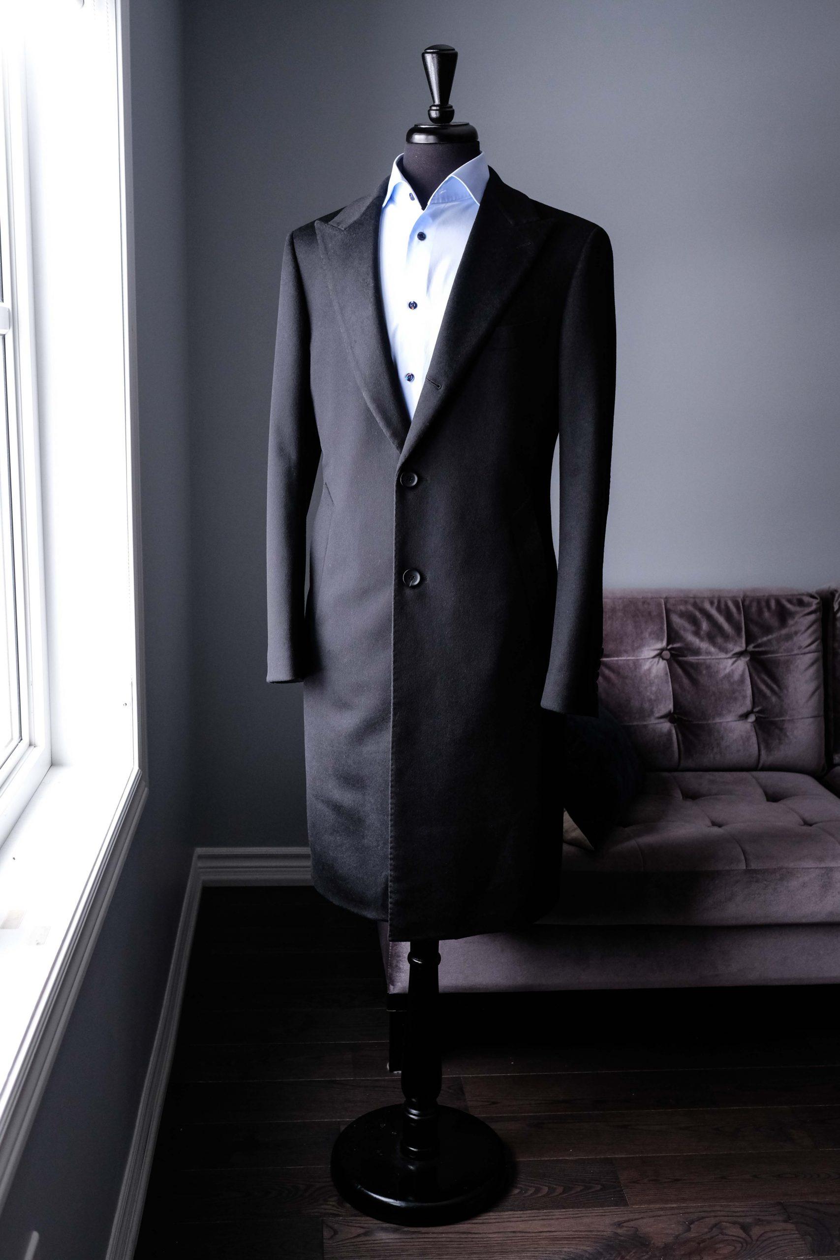 Single Breasted Peak Lapel 3 Button Black Overcoat