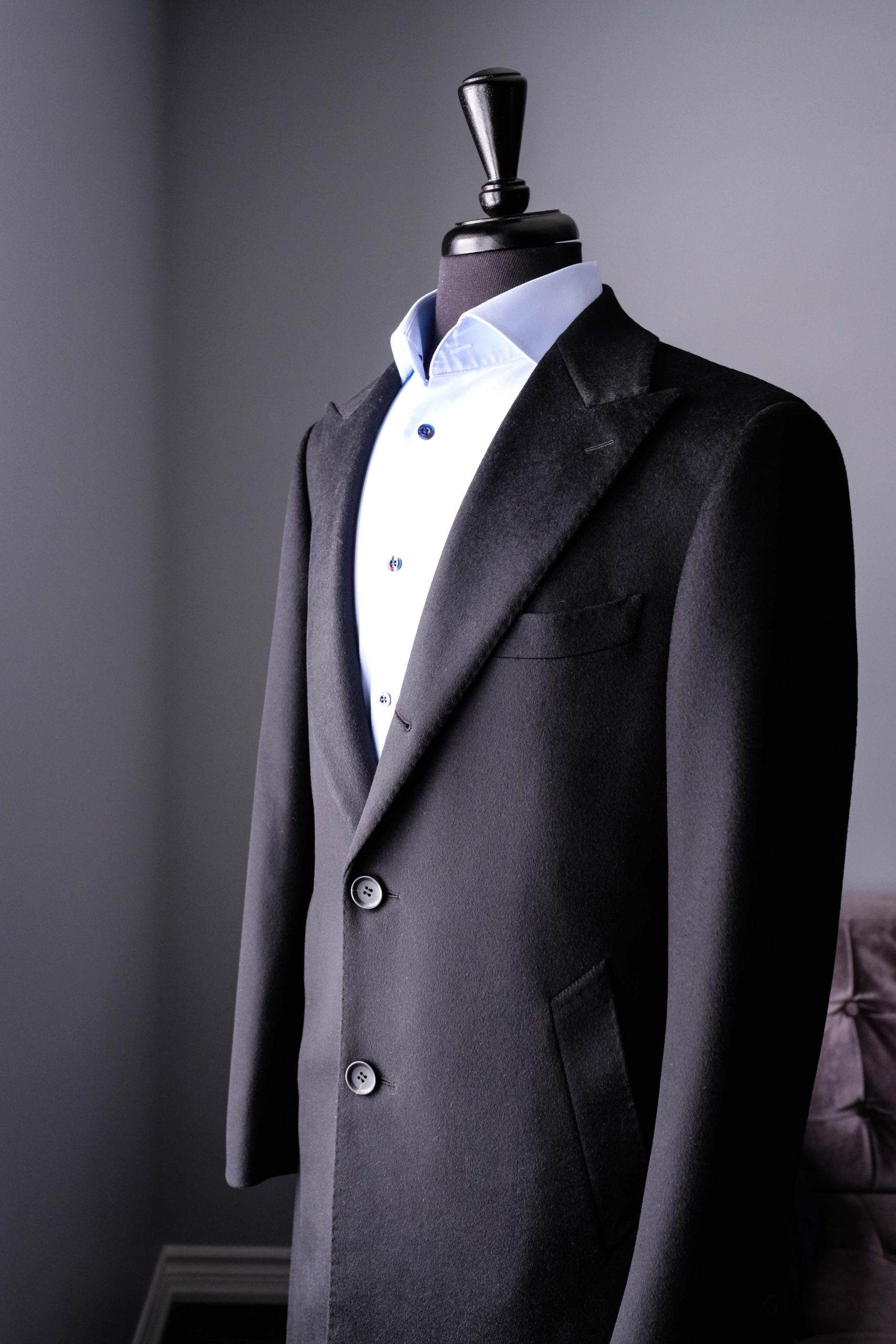 Three rolled to a two Overcoat with Peak Lapel