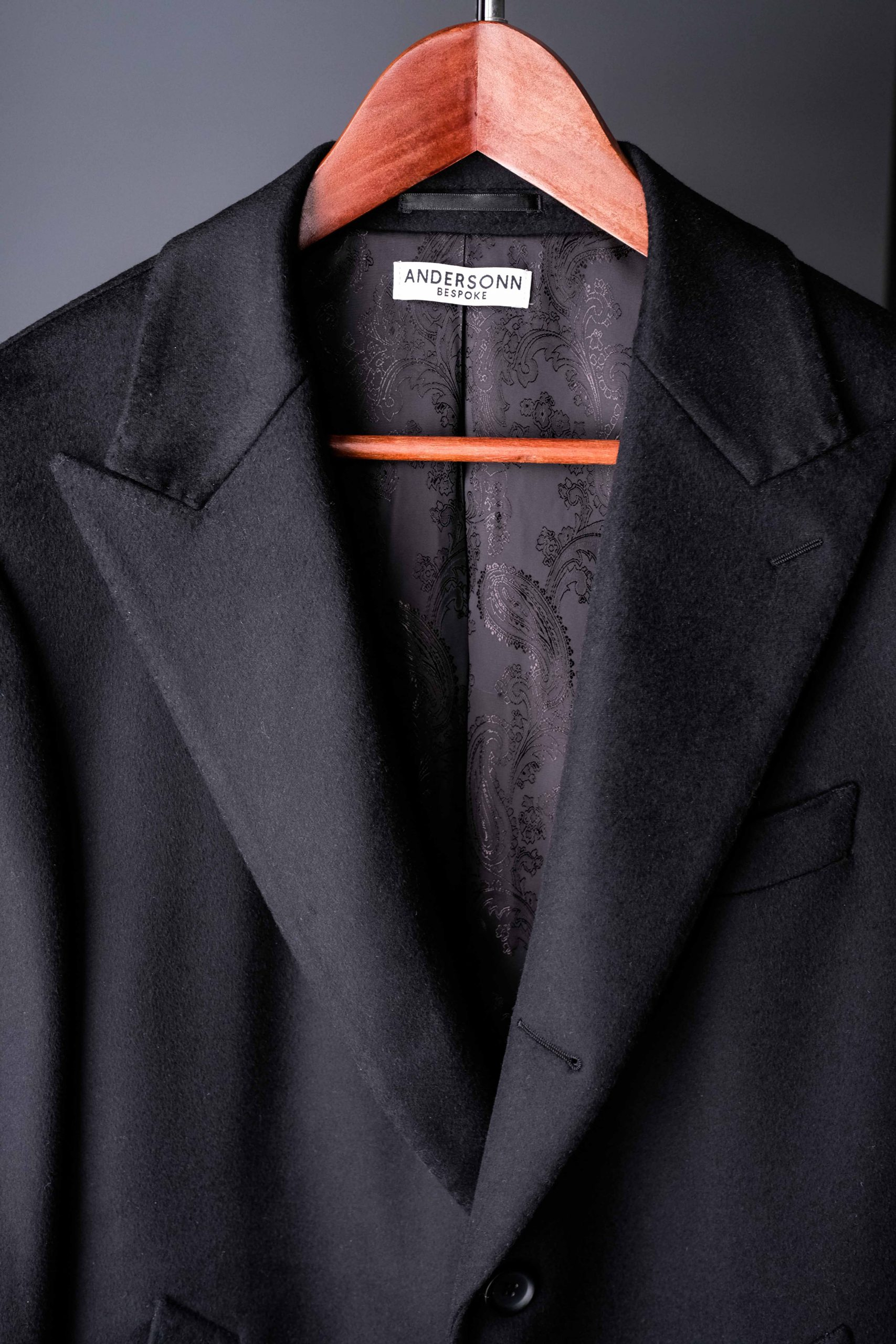 Wool and Cashmere with Black Paisley Lining