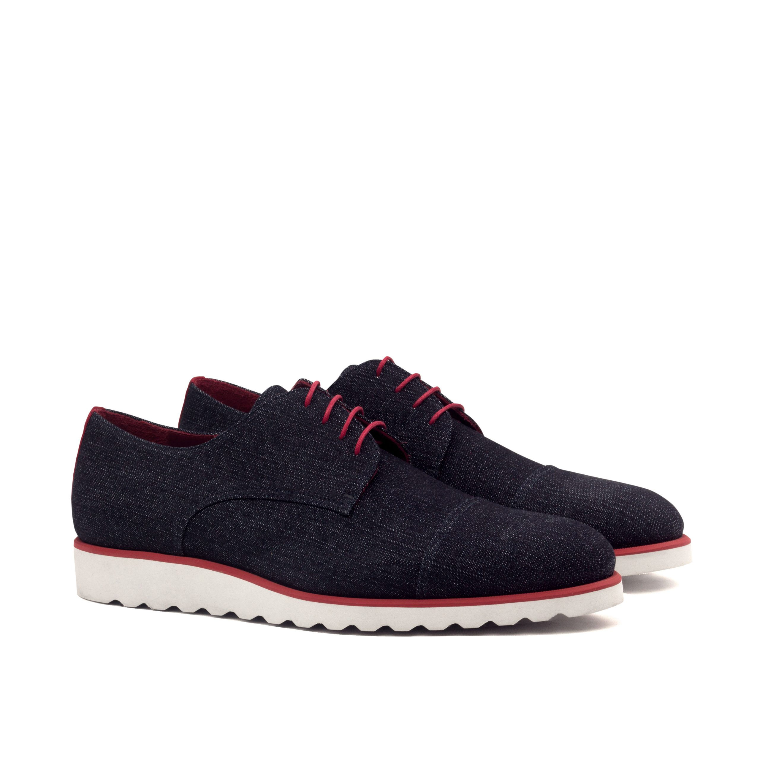 Derby Captoe - Jeans Fabric-kid Suede Red-Ang5