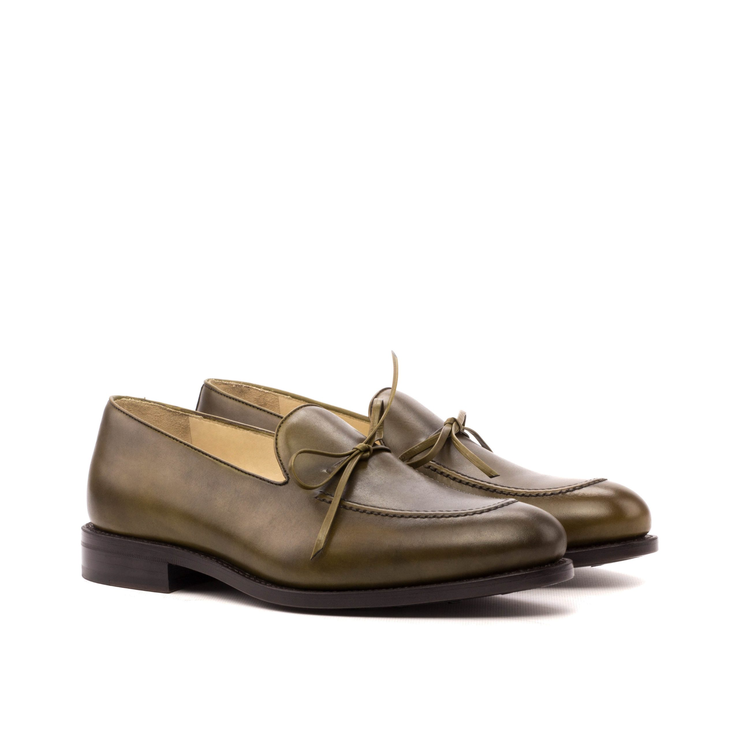 Loafer Bow Goodyear Welted - Painted Calf Olive-Ang5