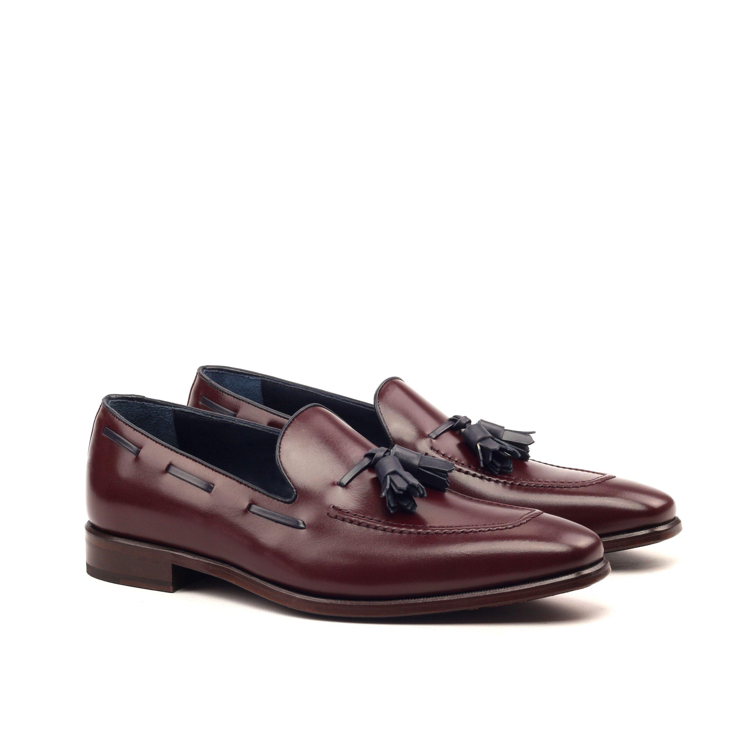 Loafer Tassels - Box Calf Burgundy And Navy-Ang5