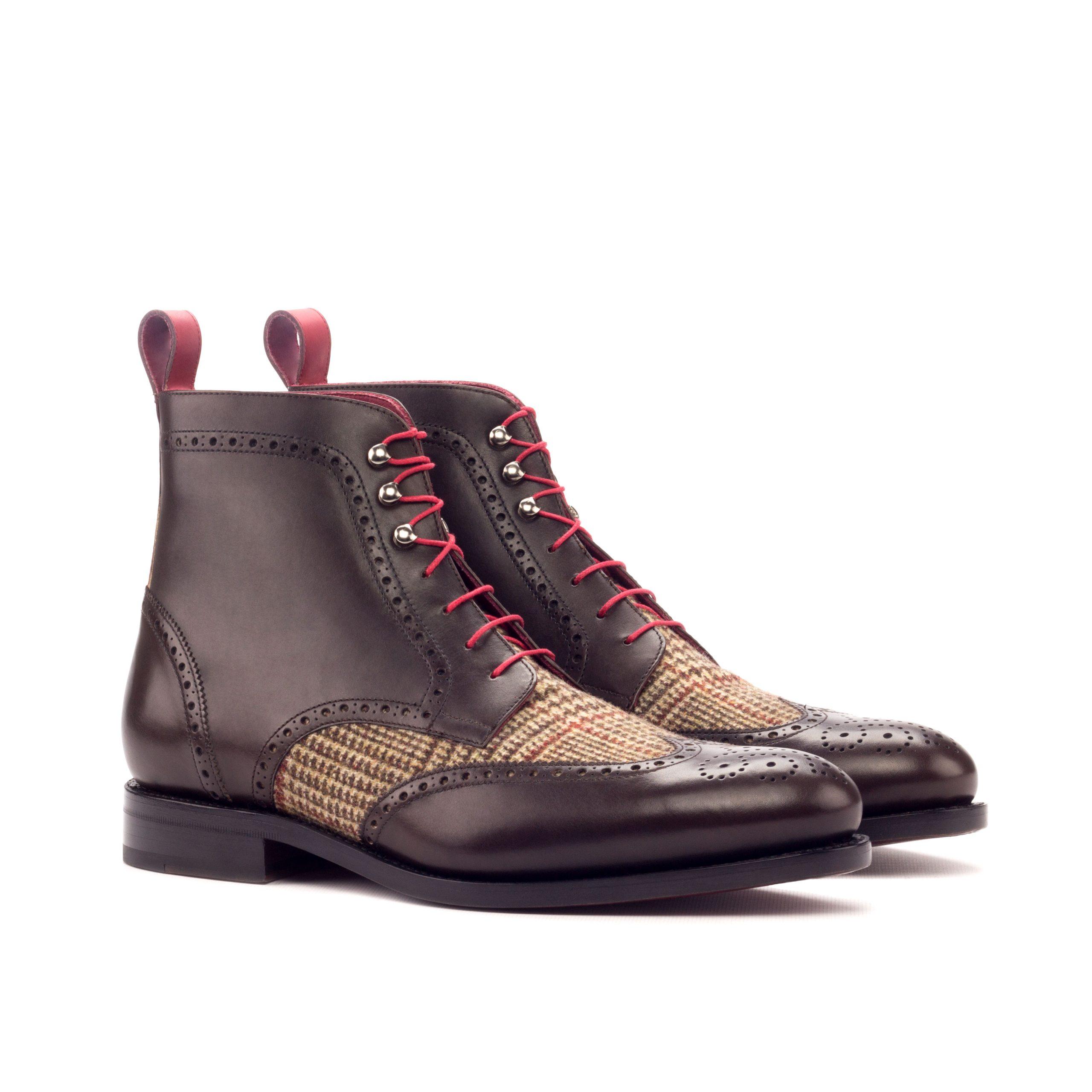 Military Boot Goodyear Welted - Painted Calf Dark Brown-Painted Calf Red-Wool Tweed Brown-Ang5