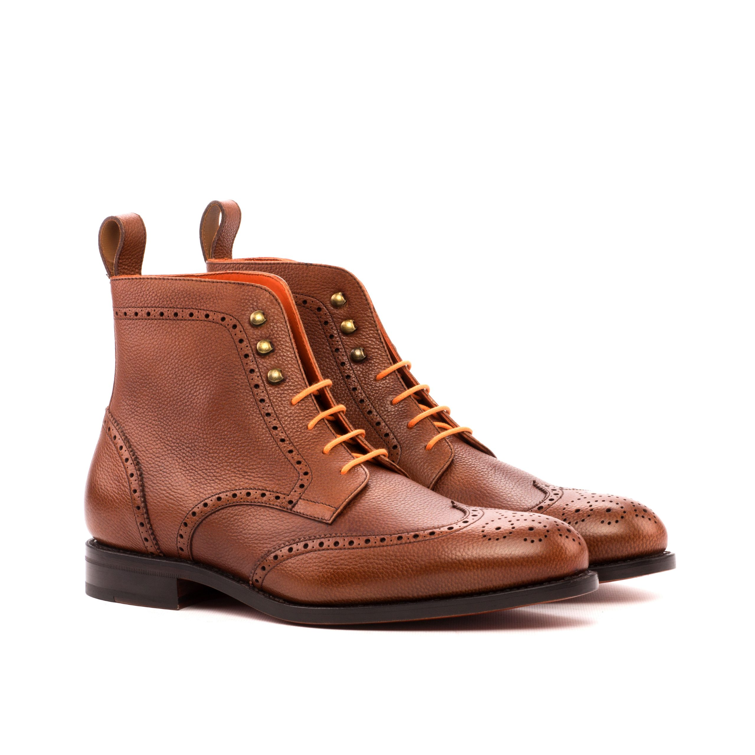 Military Goodyear Welted - Painted Full Grain Med Brown-Ang5