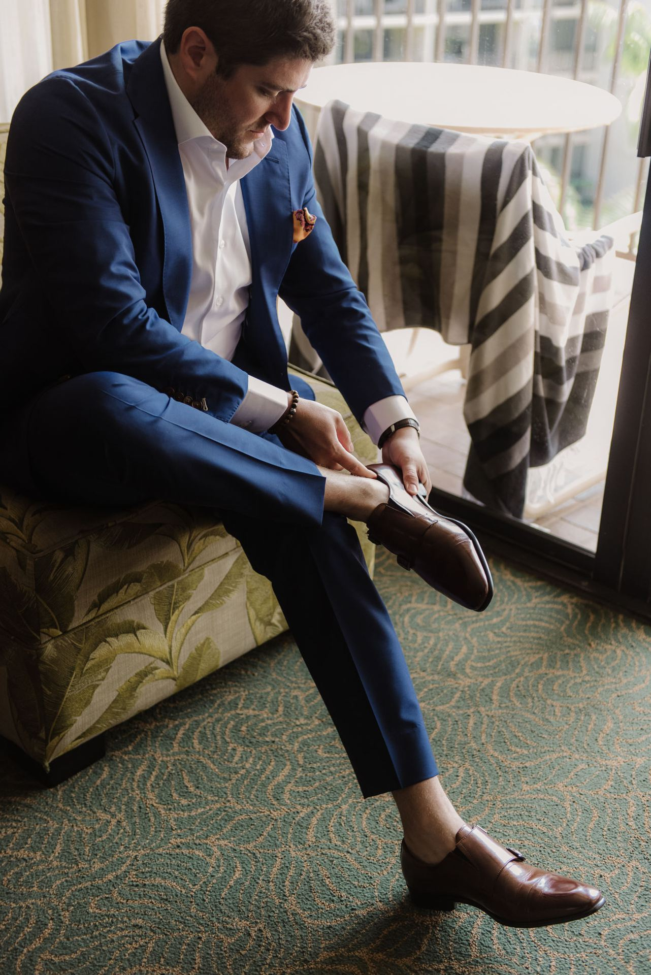 Custom Tailored Blue Suit and White Shirt