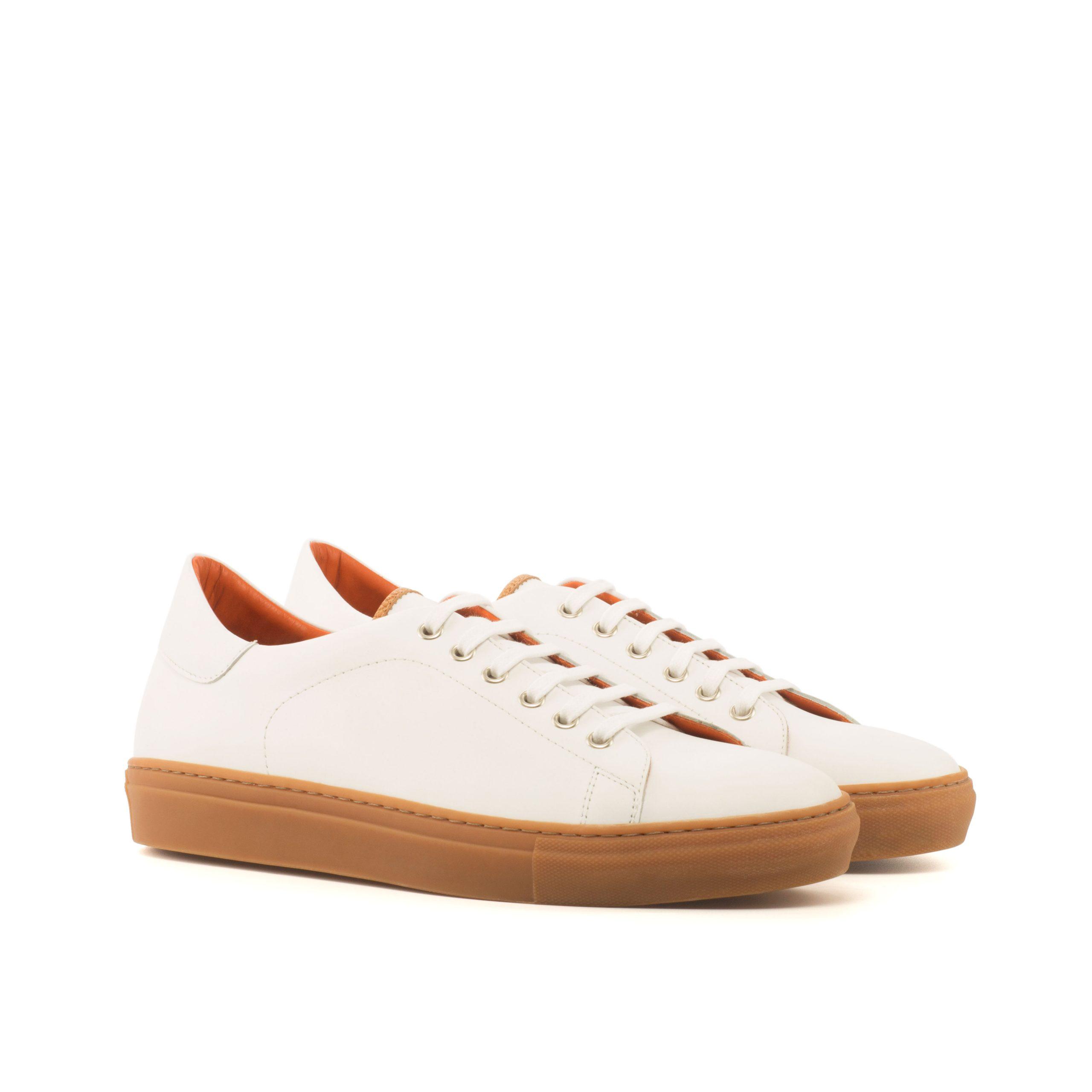 Trainer Sneaker - Box Calf White-Painted Full Grain Cognac-Ang5