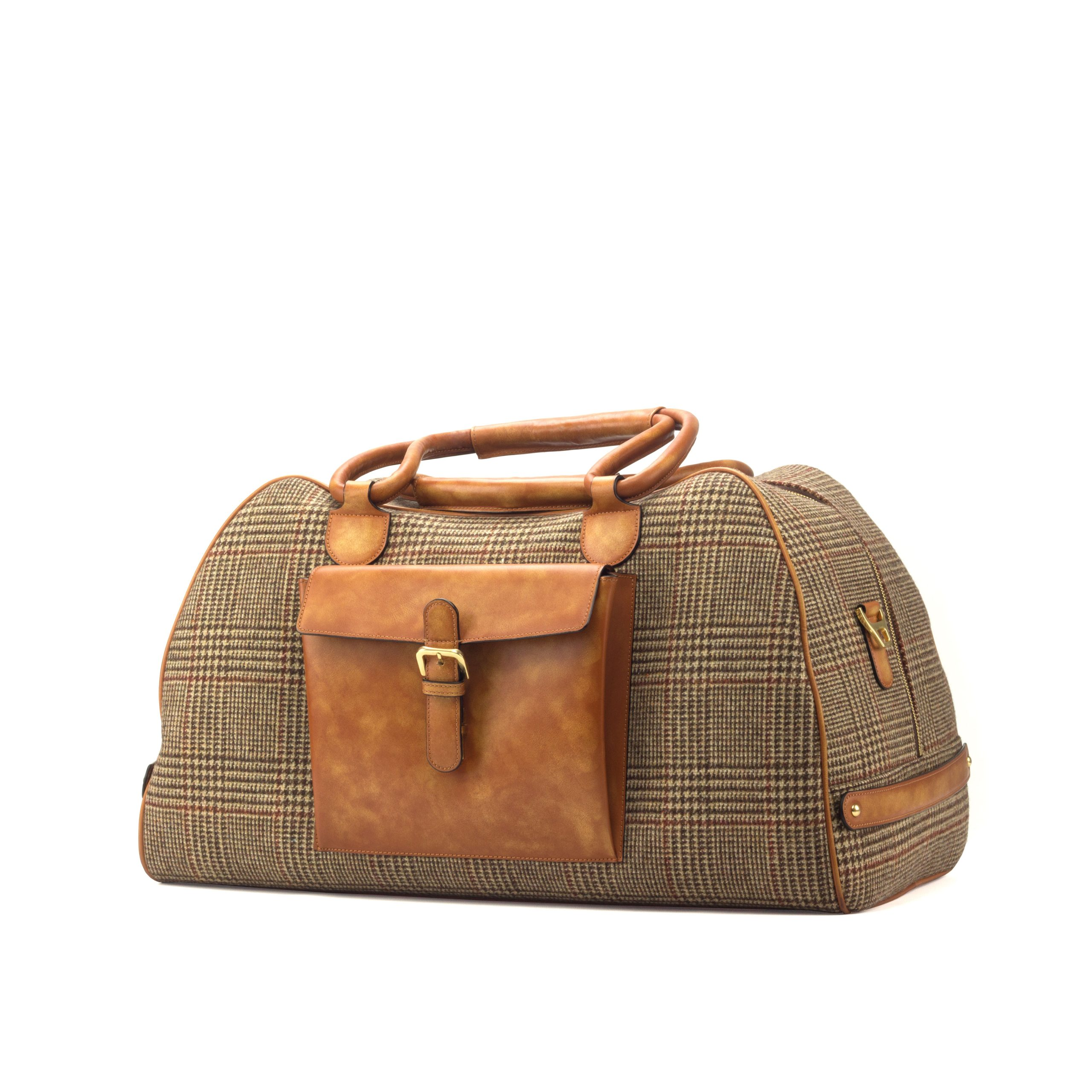 Travel Duffle Burnishing - Painted Calf Cognac-Wool Tweed Brown-Ang2
